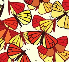 Butterflies, Insects - Red Orange Yellow Black  by sitnica