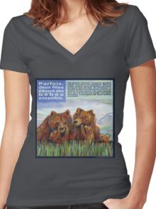 Mamans ours (Le grizzli) Women's Fitted V-Neck T-Shirt