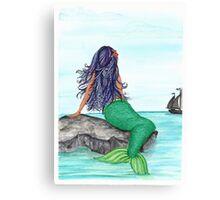 Shy Mermaid full work Canvas Print