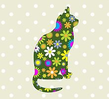 Cat Silhouette, Flowers - Green White Pink Orange  by sitnica