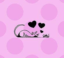 Cat and Mouse in Love, Hearts - Black Pink  by sitnica
