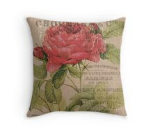 Vintage Burlap Floral 1 Throw Pillow