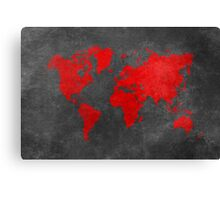 World map black and red Canvas Print