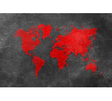 World map black and red Photographic Print