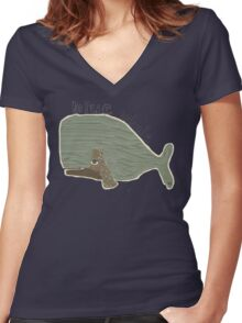 blue whale Women's Fitted V-Neck T-Shirt
