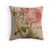 Vintage Burlap Floral 2 Throw Pillow