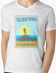 Surfing & 911 Mens V-Neck T-Shirt