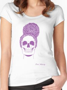 PURPLE SKULL BUN UP Women's Fitted Scoop T-Shirt