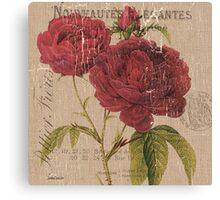 Vintage Burlap Floral 3 Canvas Print