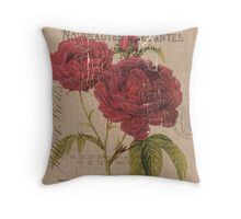 Vintage Burlap Floral 3 Throw Pillow
