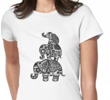 Elephant Family in Black Womens Fitted T-Shirt