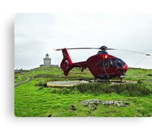Isle of May Lighthouse & Helicopter Canvas Print