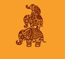 Elephant Family in Orange Womens Fitted T-Shirt