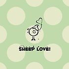 Sheep Love, Hearts, Balloon - Green Black  by sitnica