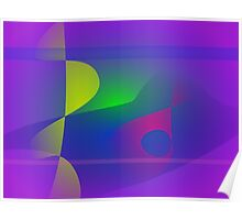 Yellow and Purple Abstract Composition Poster