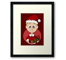 Christmas boy cartoon Framed Print