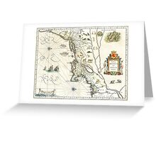 1635 Map of North East Coast - New York, Cape Cod, Virginia, Manhattan, Quebec Greeting Card