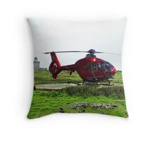 Isle of May Lighthouse & Helicopter Throw Pillow