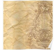 Rustic,crumbled,parchment paper,old,worn,grunge,vintage,victorian,reproduction Poster