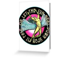 ICARUS THROWS THE HORNS - full colored kashmir Greeting Card