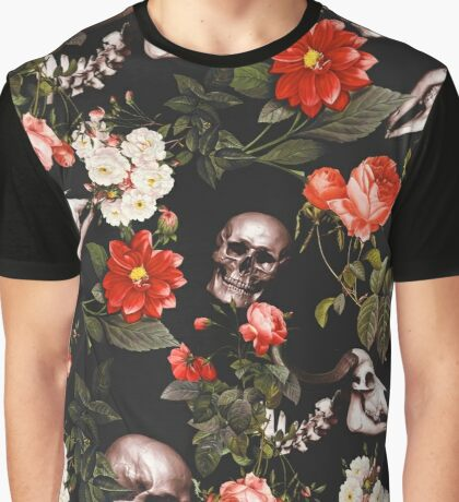 Floral and Skull Pattern Graphic T-Shirt