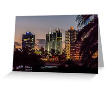 Montevideo Cityscape Scene at Twilight Greeting Card