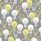 Gimme a Light-bulb in gray & yellow by rebecca-miller
