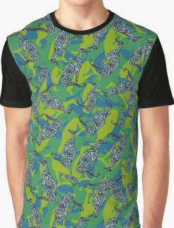 Greyhound Camo - Blue and Green Graphic T-Shirt