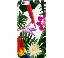 Tropical Floral Pattern - Red Parrot iPhone Case/Skin