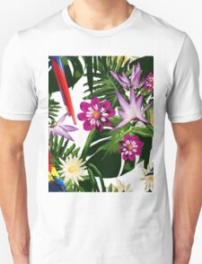 Tropical Floral Pattern - Red Parrot Unisex T-Shirt