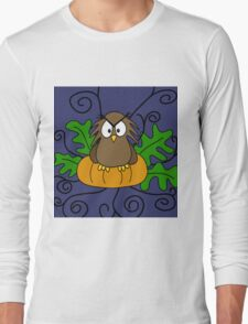 Halloween owl and pumpkin Long Sleeve T-Shirt