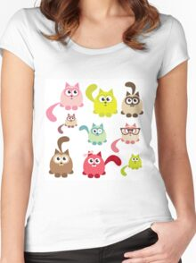 Cute cartoon cats,super girly,kawaii,trendy,modern,colorful Women's Fitted Scoop T-Shirt