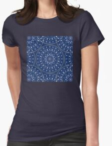 Blue White Mandalas Womens Fitted T-Shirt