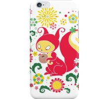 RED Squirrel with Nut. Russian Background. Transparent.  iPhone Case/Skin