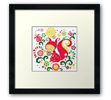 RED Squirrel with Nut. Russian Background. Transparent.  Framed Print