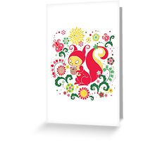 RED Squirrel with Nut. Russian Background. Transparent.  Greeting Card