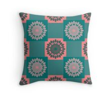 Teal and Pink Kaleidoscope Pattern Throw Pillow