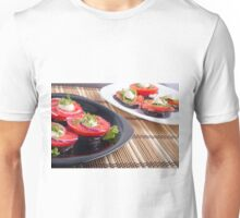 Vegetable dishes of stewed eggplant and fresh red tomato close-up Unisex T-Shirt