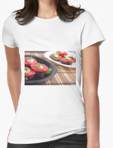Vegetable dishes of stewed eggplant and fresh red tomato close-up Womens Fitted T-Shirt