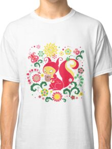 RED Squirrel with Nut. Russian Background. Transparent.  Classic T-Shirt