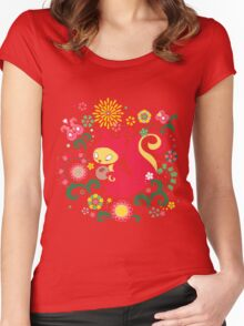 RED Squirrel with Nut. Russian Background. Transparent.  Women's Fitted Scoop T-Shirt
