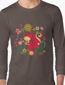 RED Squirrel with Nut. Russian Background. Transparent.  Long Sleeve T-Shirt