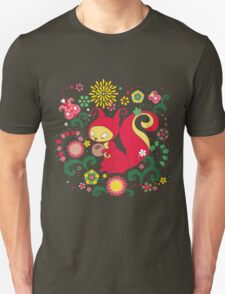 RED Squirrel with Nut. Russian Background. Transparent.  Unisex T-Shirt