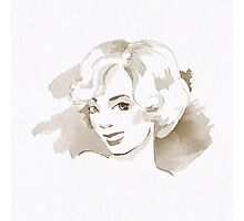 Watercolor sketch. Blonde. Photographic Print