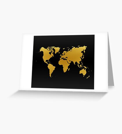 Gold and Black World Map Greeting Card