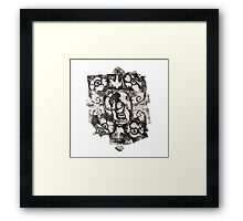 Skulls 'N' Roses Monoprint (Option 1) Framed Print