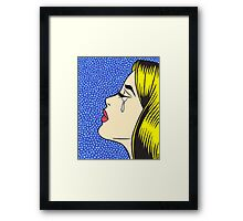 Blonde Crying Comic Girl Framed Print