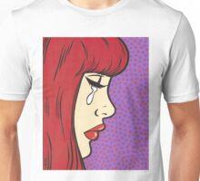 Red Bangs Crying Comic Girl Unisex T-Shirt