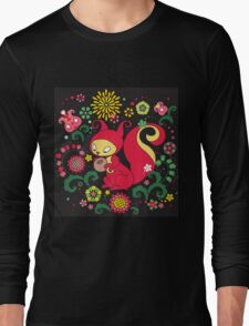 RED Squirrel with Nut. Russian Background. BLACK.  Long Sleeve T-Shirt