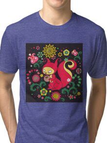 RED Squirrel with Nut. Russian Background. BLACK.  Tri-blend T-Shirt